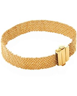 Gold And Silk Woven Bracelet