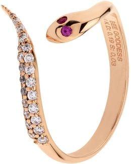 Serpent White Diamond Ring