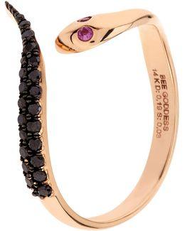 Serpent Black Diamond Ring
