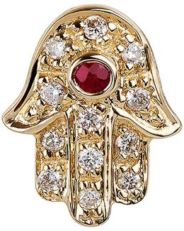 Diamond And Ruby Hamsa Stud