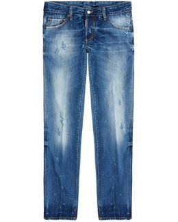 Slim Fit Heavily Distressed Jeans