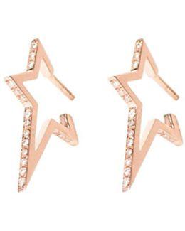 Star Diamond Rose Gold Hoop Earrings