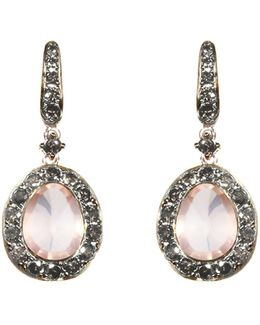 Dusty Diamonds Rose Quartz Earrings