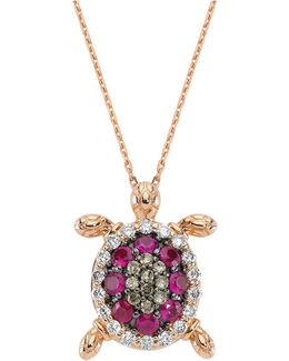 Pink Sapphire Turtle Necklace