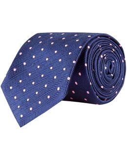 Herringbone Polka Dot Silk Tie