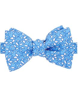 Embroidered Floral Bow Tie