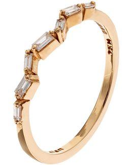Gold Baguette Diamond Firework Ring