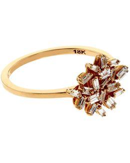 Baguette White Diamond Firework Ring