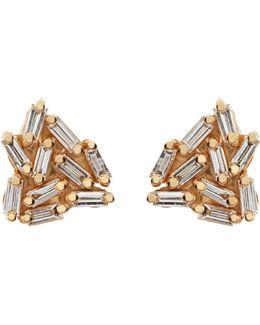 Gold Diamond Firework Earrings