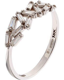 White Gold Chevron Diamond Ring
