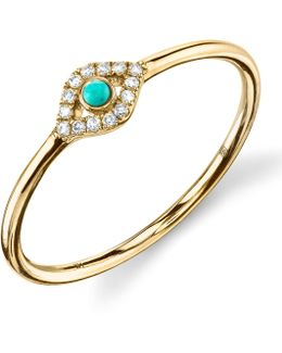Turquoise Diamond Evil Eye Gold Ring
