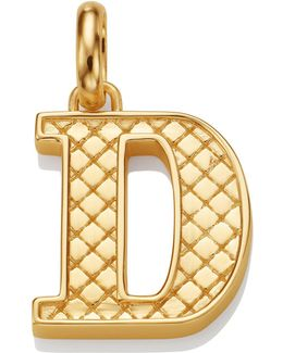 Gold Quilted Capital D Pendant