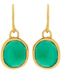 Green Onyx Siren Wire Earrings