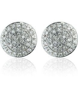 Silver Ava Button Studs