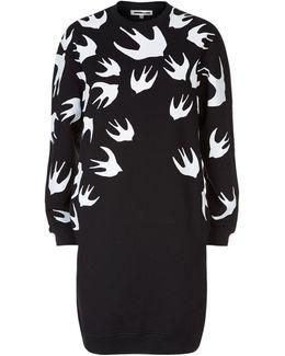 Swallow Print Sweater Dress