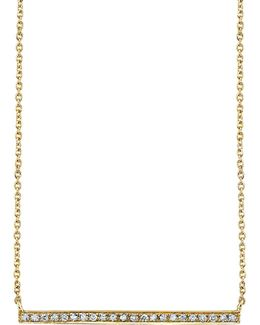 Yellow Gold And Diamond Long Bar Necklace