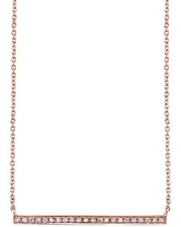 Rose Gold And Diamond Long Bar Necklace