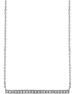 White Gold And Diamond Long Bar Necklace