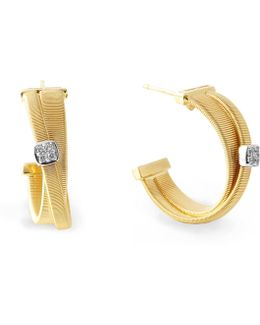 Masai Cross-over Gold Diamond Hoop Earrings