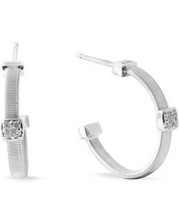 Masai Size 1 White Gold Diamond Earrings