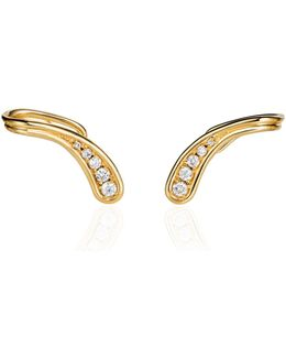Fluid Diamond Side Clip Earrings