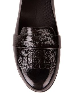 Fringey Sneakerloafer™ Patent Leather Kiltie Detail Slip On Flats