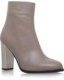 Salvador Metallic-heel Leather Ankle Boots