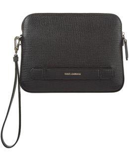 Grain Leather Clutch Bag