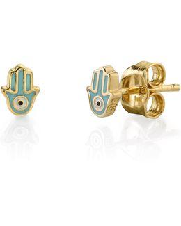 Mini Enamel Hamsa Stud Earrings
