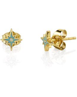Mini Enamel Starburst Stud Earrings