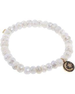 Gold And Diamond Moon Charm Bead Bracelet