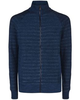 Zip-up Striped Sweater