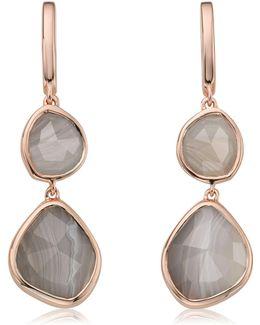 Siren Double Nugget Grey Agate Drop Earrings