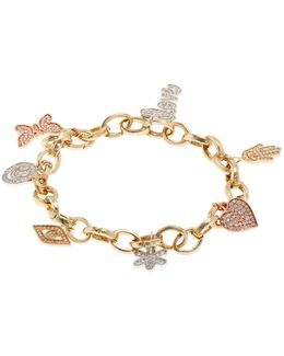Gold And Diamond Charm Bracelet