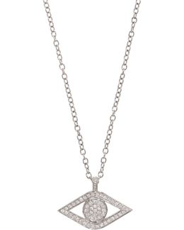 White Gold And Diamond Evil Eye Necklace
