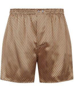 Flower Print Silk Boxer Shorts