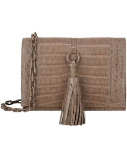 Tassel Cross Body Crocodile Bag