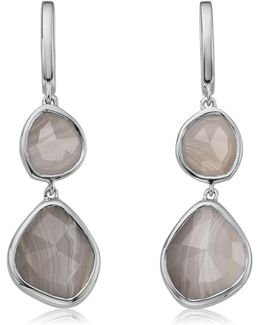 Siren Double Nugget Grey Agate Drop Earrings