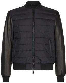 Padded Front Leather Bomber Jacket