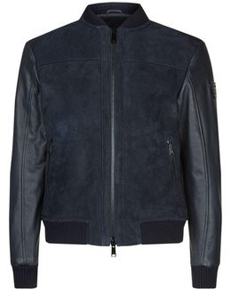 Shearling Lined Suede And Leather Bomber Jacket
