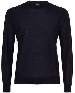 Mercerised Tonal Eagle Motif Sweater