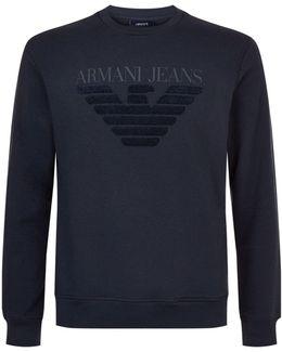 Textured Eagle Motif Sweatshirt