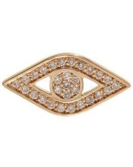 Yellow Gold And Diamond Evil Eye Stud Earring