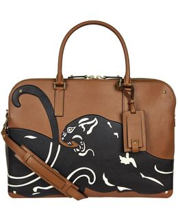 Leather Panther Briefcase