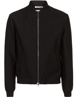 Perforated Zip-up Bomber Jacket