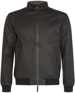 Woven Leather Bomber Jacket