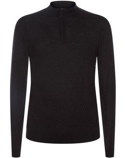 Diamond Tile Half Zip Sweater