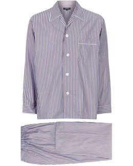 Contrast Stripe Pajama Set
