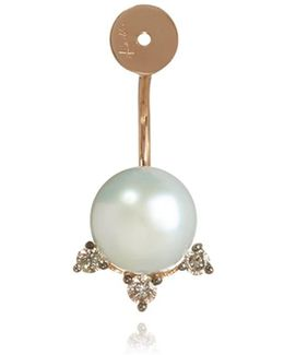 Diamond And Pearl Stud Earring Back