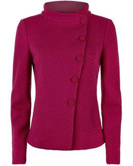 Textured Asymmetric Jersey Jacket